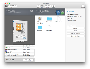 With an updated UI, including the new Files pane, WinZip Mac 6 offers a highly visual way to work with your files.