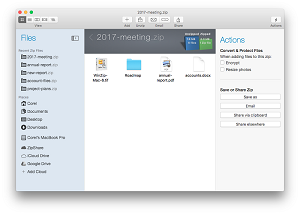 WinZip Mac 6 enables to you connect directly to iCloud Drive, ZipShare, Google Drive or Dropbox for easy file sharing.