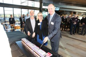 Cake Cutting at 200th VLocity train unit celebration - (L to R) Neil Gibbs, Executive Director of Rollingstock, Victorian Government; Stephanie Disher, Managing Director, Cummins South Pacific; and Andrew Dudgeon, Managing Director, Bombardier Transportation Australia