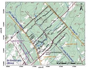 Figure 1: Localisation des linges de géophysiques et des stations gravimétriques