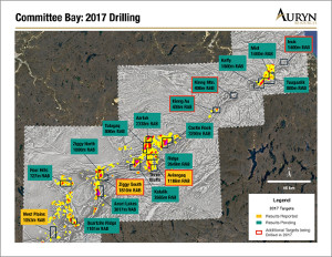 Figure 1:  Illustrates the targets that have been drilled at the Committee Bay Gold project.  Results that have been reported are highlighted by the yellow text boxes.