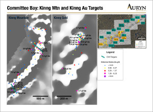 Figure 3:  Illustrates high grade historical grab samples at both Kinng Mountain and Kinng Gold targets.
