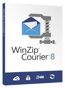 WinZip Courier 8 works with corporate email to break through attachment size limits and easily zip and encrypt files.
