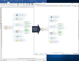 Use MindManager 2018 to easily publish on the web or export interactive maps. Share maps and interactive diagrams over social media or embedded in blogs, intranets and websites.