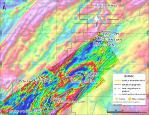 Figure 2: Carte régionale avec réinterprétation du levé magnétique aéroporté