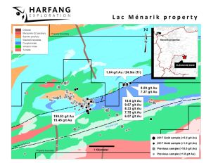 Figure 1 - Harfang intersects 1.04 g/t Au over 24.9 m in channel sampling at Menarik