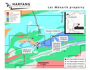 Figure 1 - Harfang recoupe 1.04 g/t Au sur 24.9 m en rainure sur la propriété Ménarik