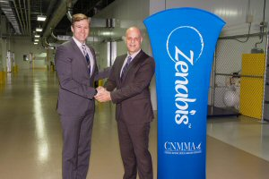 Brian Gallant, Premier of New Brunswick (left), shakes hands with Kevin Coft, CEO of Zenabis, Monday, November 20, 2017, in Atholville, NB, after the NB government signed a MOU with Zenabis to supply the province with four million grams of cannabis and derivative products, with a retail value of  between $40-50 million.  The Canadian Press Images PHOTO/Zenabis