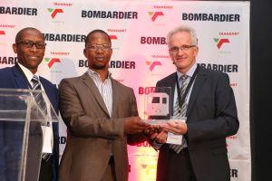 L-R: Aubrey Lekwane, MD Bombardier Transportation SA, Thamsanqa Jiyane, CEO Transnet Engineering, Henk Ekkelenkamp, Project Director Bombardier Transportation TRAXX SA