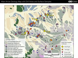 Altan Arrow Geology and Drillhole Map