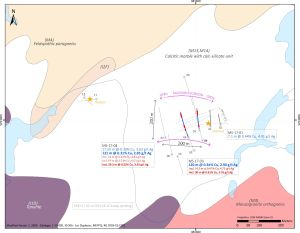 Figure 1: Plan view map showing all the drill holes and the main intercepts from MS-17-01 to MS-17-04
