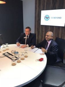 Alliance Air CEO CS Subbiah (right) Signs Services Agreement with P&WC President John Saabas at 2018 Singapore Airshow