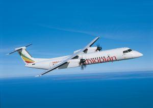 Avion Q400 avec la livrée d'Ethiopian