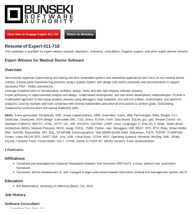Expert witness resume example