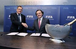 Jerome Valcke, general secretary of FIFA (L) and Pierre-Emmanuel Taittinger (R)