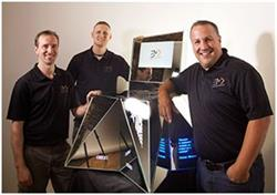 The Electric Mirror team that built the chair from left to right -- Veniamin Kozachenko, Justin Wulf, and Neil Castillo.