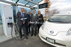 Mayor Maurizio Bevilacqua, PowerStream Board Chair and Mayor of the City of Vaughan, Young Ngo, Survalent Technology, Ken Stebnik, Nissan North America, Brian Bentz, PowerStream President & CEO, and Debbie Ellis, G&W Canada, at the official launch of PowerStream's publicly-available level 3 electric vehicle charger.