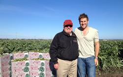 Chef Curtis Stone with Ocean Mist Farms owner grower Hugo Tottino