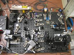 The experiment's Alice and Bob communicated with entangled photons produced in this setup.
