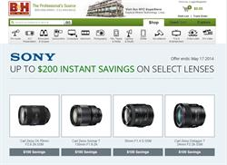 Sony Lens Rebate Page at B&H Photo
