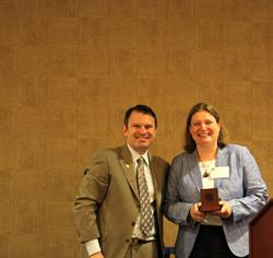 CBABC President Dean Crawford with 2014 Equality and Diversity Award recipient Janine Benedet.