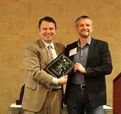 CBABC President Dean Crawford with Innovative Workplace recipient, Vancouver law firm Clark Wilson LLP.