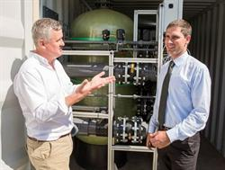The first IX-C installation in the US: Soquel Creek Water District in Northern California. Ionex SG CEO Phil Chandler [left] with the water district's Engineering Manager/Chief Engineer Taj Dufour.
