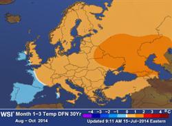 European seasonal forecast for August through October