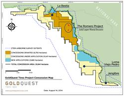 GoldQuest TIREO PROJECT Concession Map (August 2014)