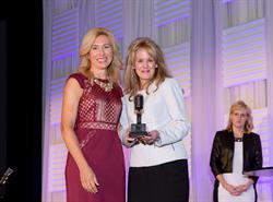 Kate Herman, NBJ, and Laura Heatherly, of T.J. Martell Foundation, at Women in Music City Awards