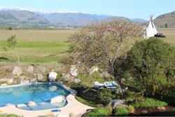 Swimming pool panoramic landscape.