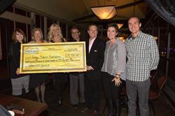Ivan Utrera presents check to Image Reborn Founder and board members on a dinner held at Rodizio Grill in Salt Lake City on December 22, 2014. (L-R) Shawna Patten, Debbie Hoffmeyer, Jodi Holmgren, Ivan Utrera, Dr. Renato Saltz, Tracee Lolofie, and Shawn Miele.