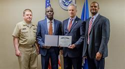 L-R: CAPT Peter Stauffer, DHS S&T CIO Special Projects Manager; Gerald Weeks; Michael Smith, Cyber Team leader; James Younger