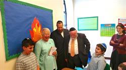 Chancellor Carmen Farina visits Shema Kolainu -- Hear Our Voices classroom with Founder, Dr. Joshua Weinstein.