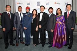 The 2015 Asia Society Asia Game Changers: (L to R): Shuji Nakamura, Aasif Mandvi, Mariam al-Mansouri, Kiran Bir Sethi, Li Cunxin, Manny Pacquiao, Chanda Kochar, and Lei Jun. Photographed on October 13, 2015. (Ellen Wallop/Asia Society)
