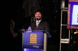 Manny Pacquiao accepts his Asia Society Asia Game Changer award on October 13, 2015. (Ellen Wallop/Asia Society)