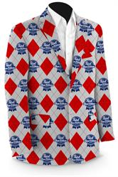 Pabst Blue Ribbon Red & Grey Argyle