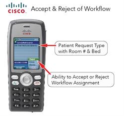 Accept/Reject escalation capabilities streamline communications and softens the impact of clinical interruptions. Clinicians have have the option to accept or reject the workflow assignment. If rejected, the system will automatically hand-off the event to the next person or group in the escalation path for resolution.