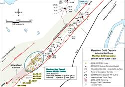 Figure 1: Location of in-filling DDH's MA-15-066 to MA-15-071, Marathon Gold Deposit, Valentine Gold Camp.