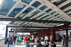 The roof deck of the USA Pavilion at the 2015 Milan Expo featuring an SPD-SmartGlass roof