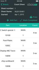 Count sheets display all of the items within a particular inventory group (iPhone display).