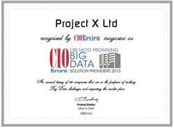 """Project X Ltd. recognized by CIOReview as one of the """"100 Most Promising Big Data Solutions Providers 2015."""""""