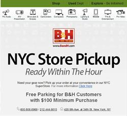 NYC Store Pickup: B&H Photo SuperStore