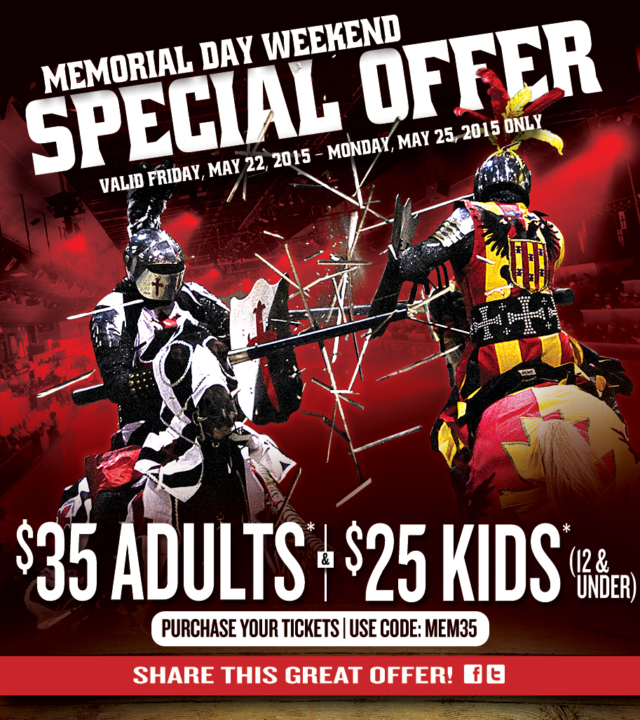 Be sure to arrive early for a cocktail hour and special displays of chivalry from Medieval Times knights. Use Medieval Times coupons to earn discounted admission for special events and upgrade to the Celebration package for upgraded seating, complimentary photographs, and more/5(19).