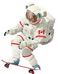 Chris Hadfield x 60°N 95°W Skateboarding Astronaut graphic.