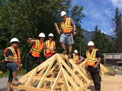 Level 1 carpentry apprentices in Bella Coola work together to build for the Nuxalk First Nation