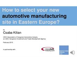 Selecting an Automotive Manufacturing Site in Eastern Europe