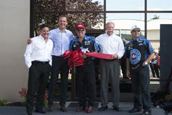 Dick LeBlanc, David Savage, John Force, Fred Mooneyham, and Robert Hight after the ribbon cutting