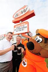 Cruisin' to End MS: On August 27th, A&W celebrates its 7th annual Cruisin' to End MS to benefit the MS Society of Canada. On this day, $1 from every Teen Burger® sold will be donated to help end MS. Paul Hollands, Chairman and CEO, A&W Food Services of Canada Inc. (centre) and Yves Savoie, President and CEO, Multiple Sclerosis Society of Canada were joined by the Great A&W Root Bear® to kick-off the event.  Credit: A&W Food Services of Canada Inc.
