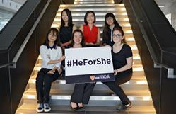 The University of Waterloo will award 24 outstanding female students a total of $288,000 over the next four years as part of a new scholarship supporting ongoing efforts to achieve comprehensive, long-term and sustainable gender equality.  The 2015 University of Waterloo HeForShe IMPACT Scholarship recipients. Top row (left to right): Anqi Yang, Jenny Ma, Sally Muth. Bottom row (left to right): Zhuo Yu, Anya Forestell, Sarah Muth.